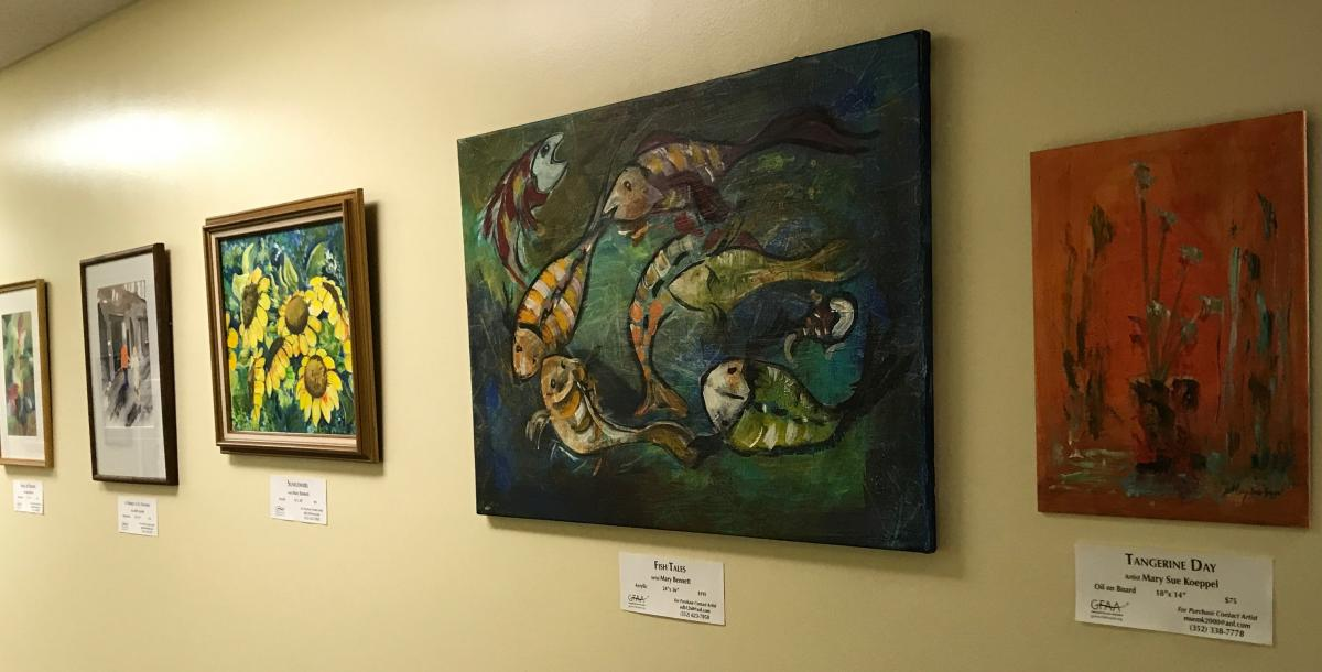 The GFAA art featured at the SIMED Gainesville medical center for patients to view.
