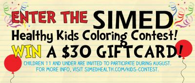 Balloons and Confetti on Flyer announcing the SIMED Healthy Kids Coloring Contest