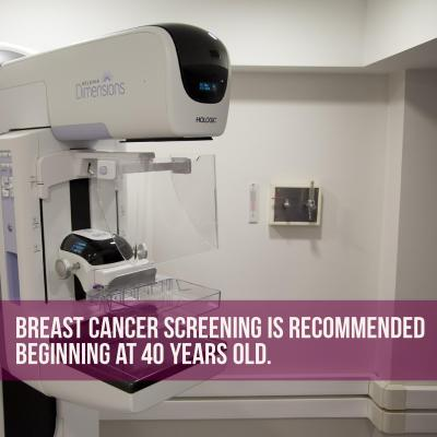 photo of a mammography machine saying you should get a mammography when you turn 40