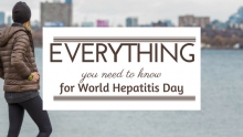 Everything you need to know about hepatitis for World Hepatitis Day banner with man looking off
