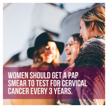 Women laughing with information about pap smear and cervical cancer screening