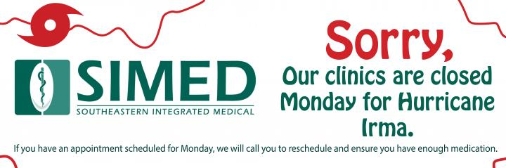 SIMED closed Monday for Hurricane Irma sign