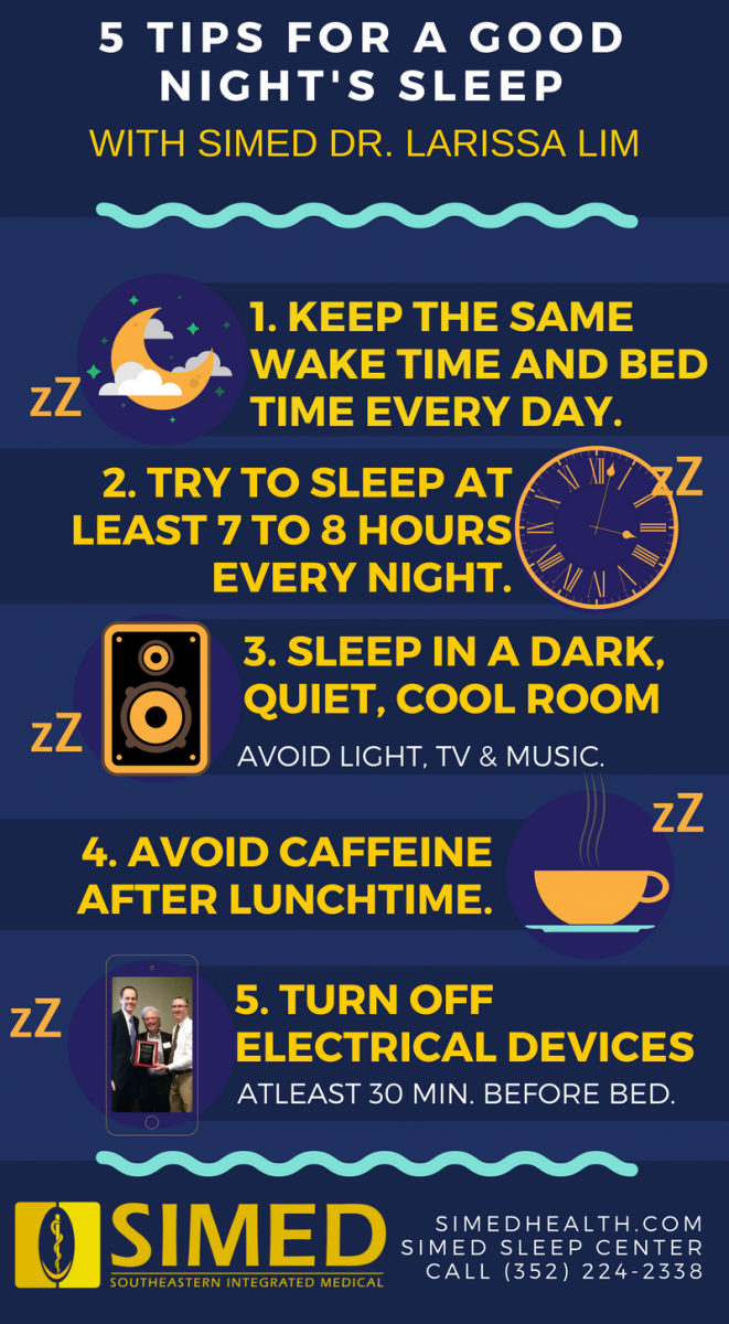 Infographic on tips to get a good night sleep and improve sleep