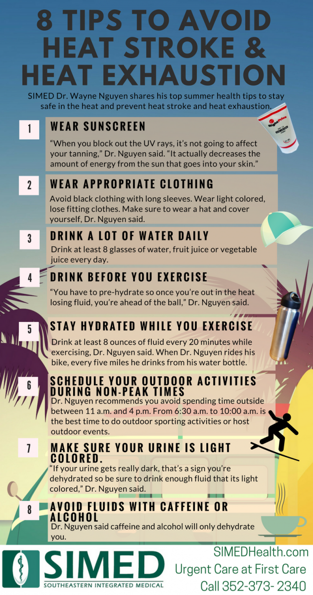8 tips to avoid heat stroke and heat exhaustion infographic