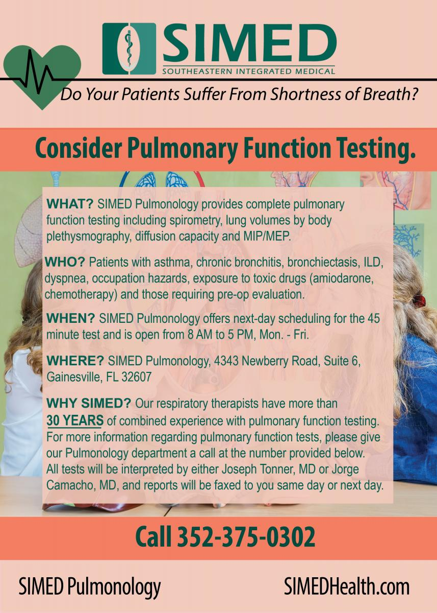 Flyer with information about PFT Testing in Gainesville at SIMED