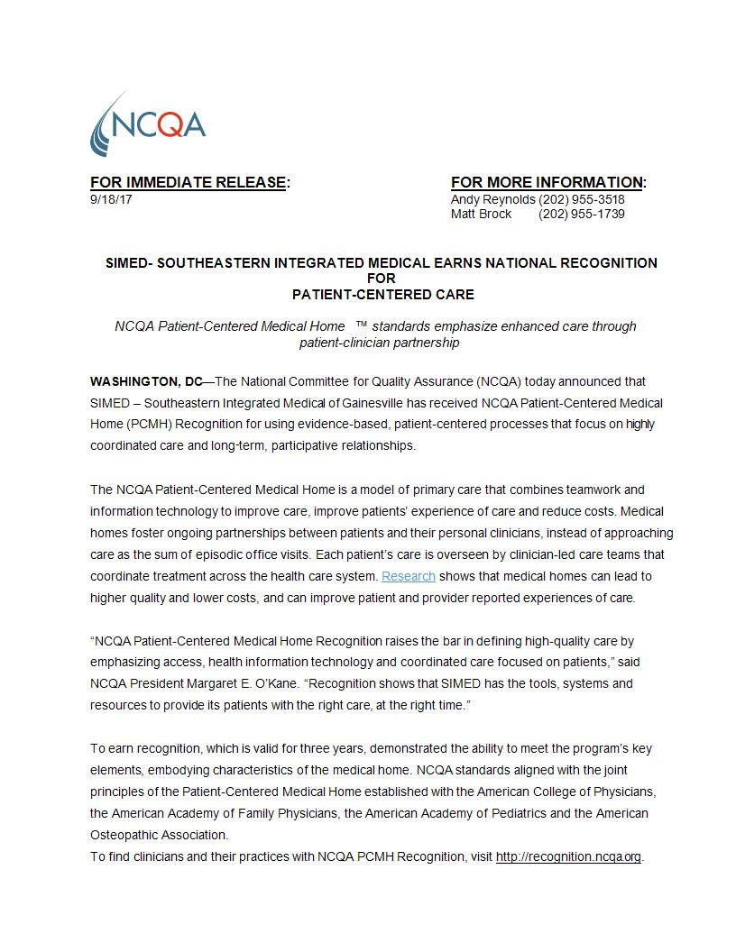 press release from NCQA on SIMED earning recognition