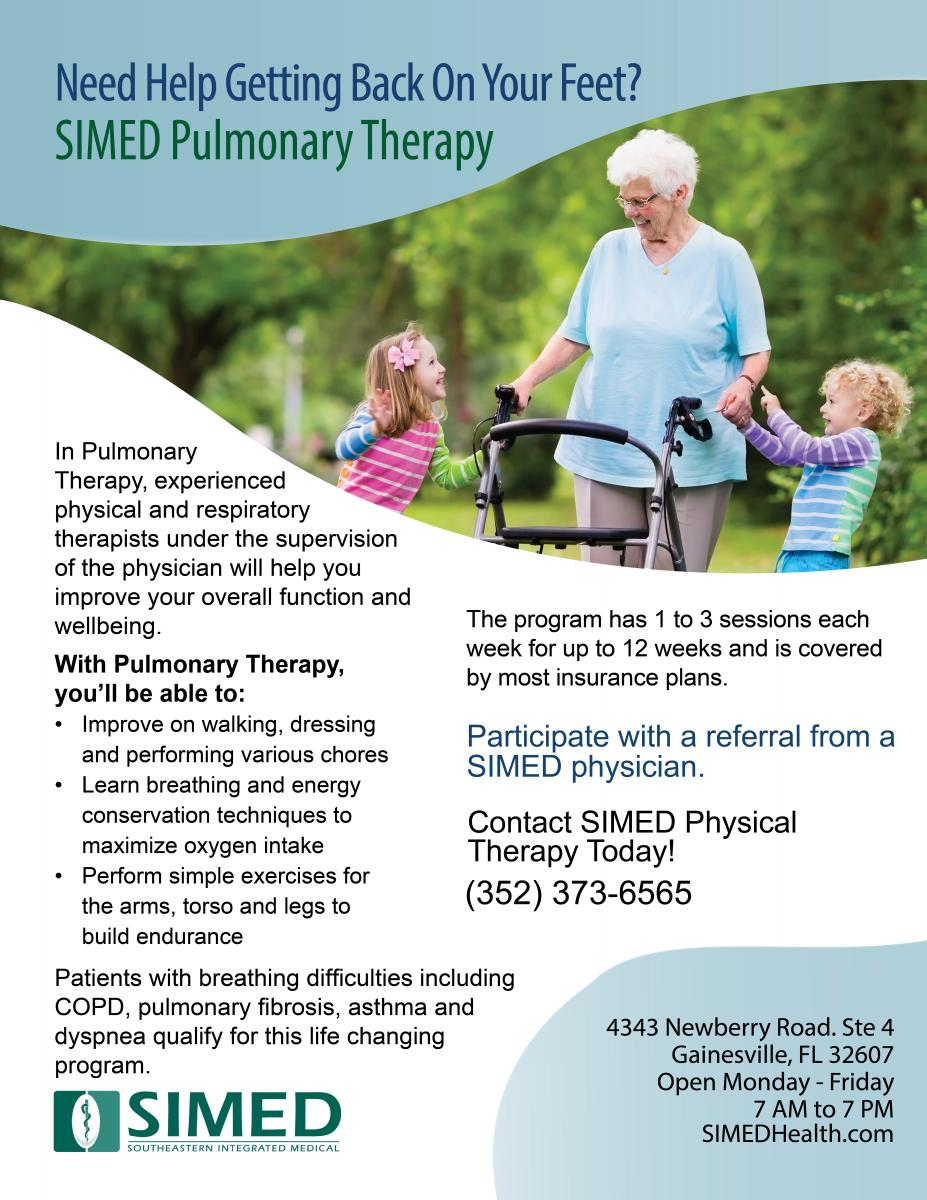 Flyer for new SIMED Pulmonary Therapy program