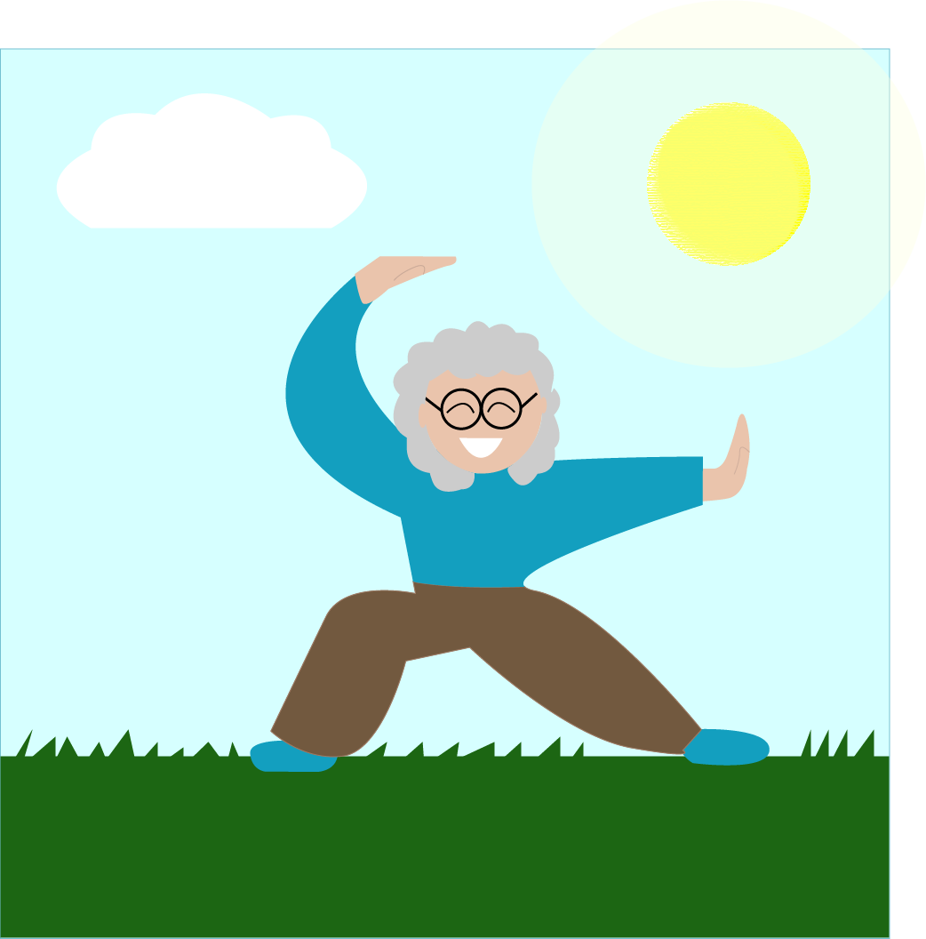 Older woman practicing Tai Chi outside flat design graphic