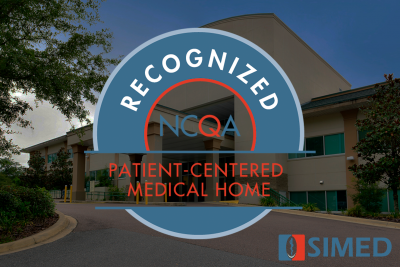 SIMED logo and NCQA badge over SIMED building
