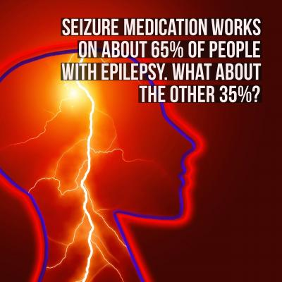 Brain with lightning running through it with fact about how seizure medication does not help everyone with epilepsy graphic