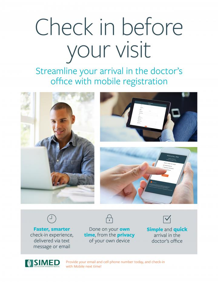 Poster for SIMED's New Digital Check-In